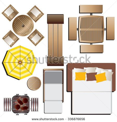 Outdoor Furniture Top View Set 15 For Landscape Design , Vector Illustration
