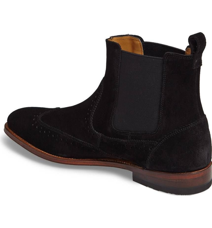 aaf31bd6c6d3b HANDMADE MENS BLACK BROGUE LEATHER SUEDE CHELSEA DRESS FORMAL BOOT ANKLE  BOOT - Boots