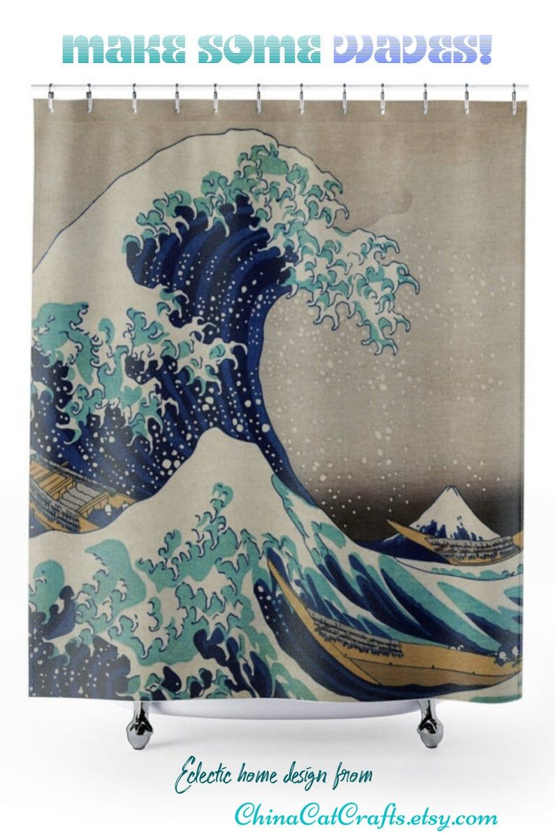 Shower Curtain The Great Wave Asian Art Ocean Scene Bathroom