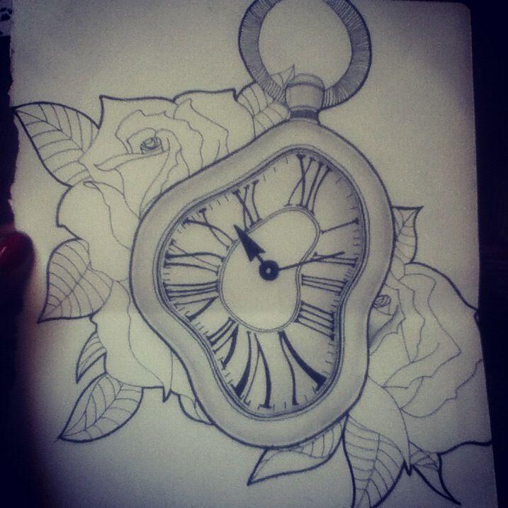 melting clock t... Melting Clock Tattoo Designs