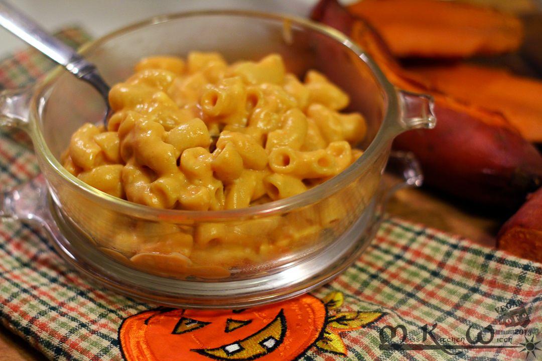 Smokey Sweet Potato Vegan Mac Cheese Via Http Misskitchenwitch Com For Veganmofo Vegan Mac And Cheese Healthy Work Snacks Vegan Sweet Potato