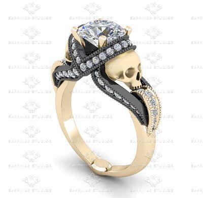 'Aphrodite' 1.85ct Diamond Skull Yellow Gold and Black Engagement Ring