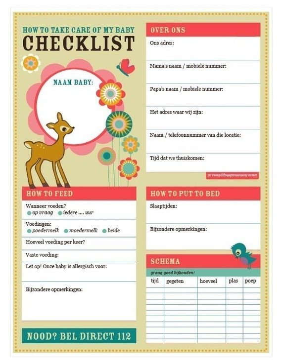 baby love babysitter checklist kinder items pinterest