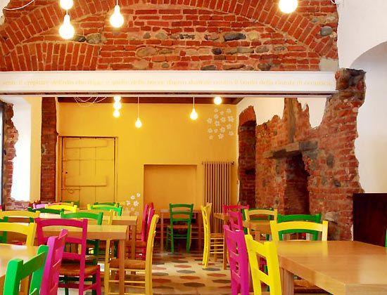 Exposed Brick Bright Colors Restaurant Design Rustic