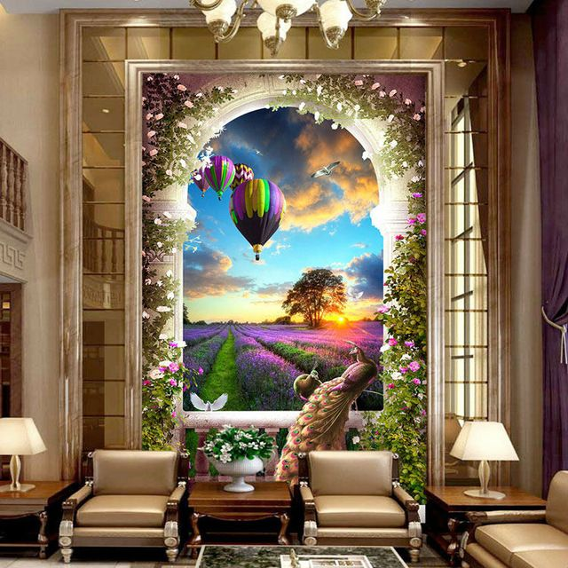 Gorgeous Peacock Wallpaper 3d Photo Wallpaper Lavender Manor Wall
