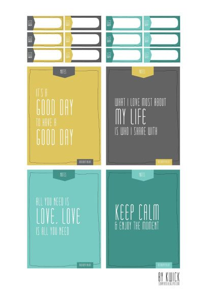 Free Project Life Filler Cards & Tags Set
