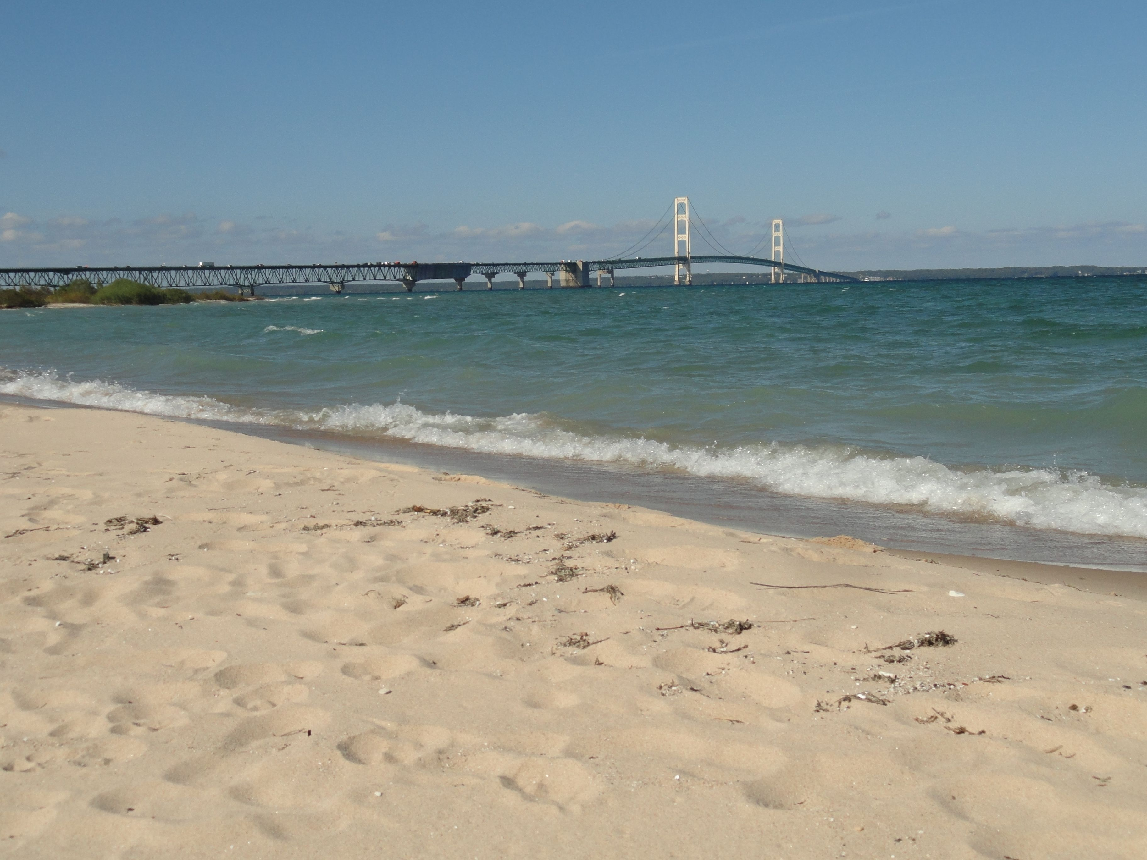 Mackinac State Park Beach Mackinaw City Mi Bridge Photo By Sandy Carlson