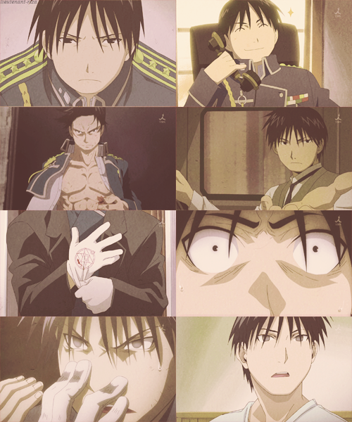 Roy Mustang pictures, from Fullmetal Alchemist: Brotherhood. Come on, I couldn't of been the only one depressed for the last two pictures.