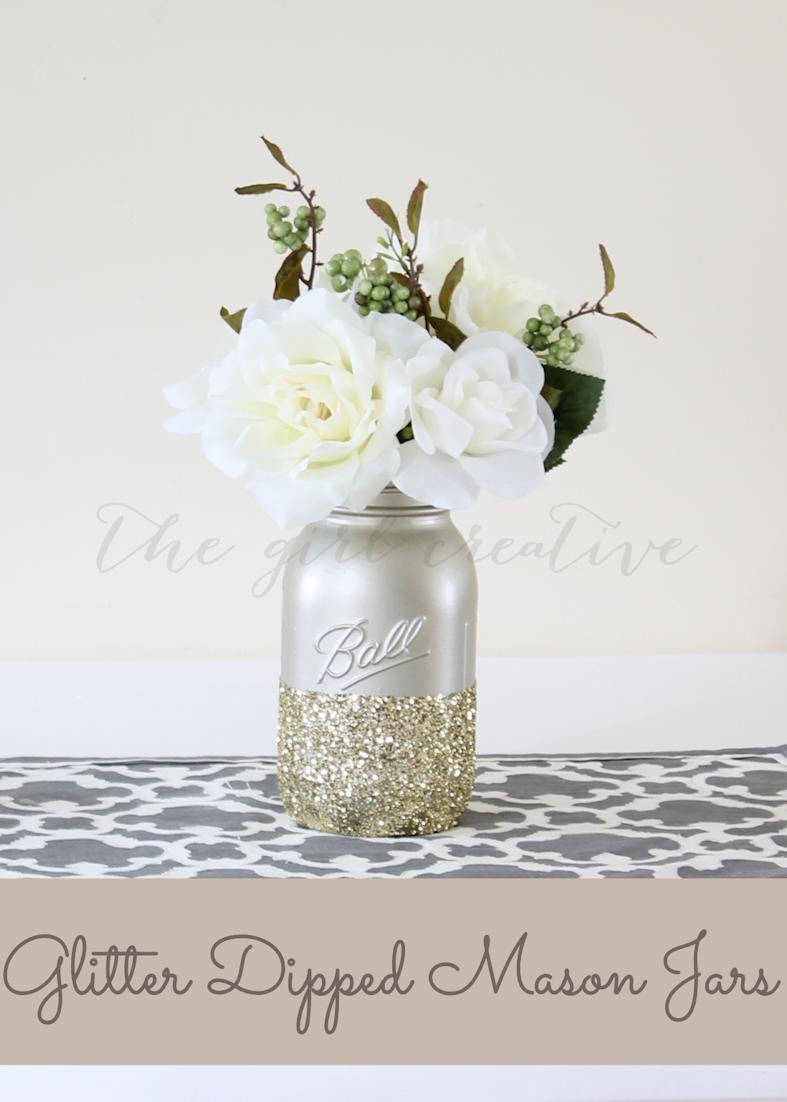 DIY Glitter Dipped Mason Jars   Wedding centerpieces, DIY wedding ...