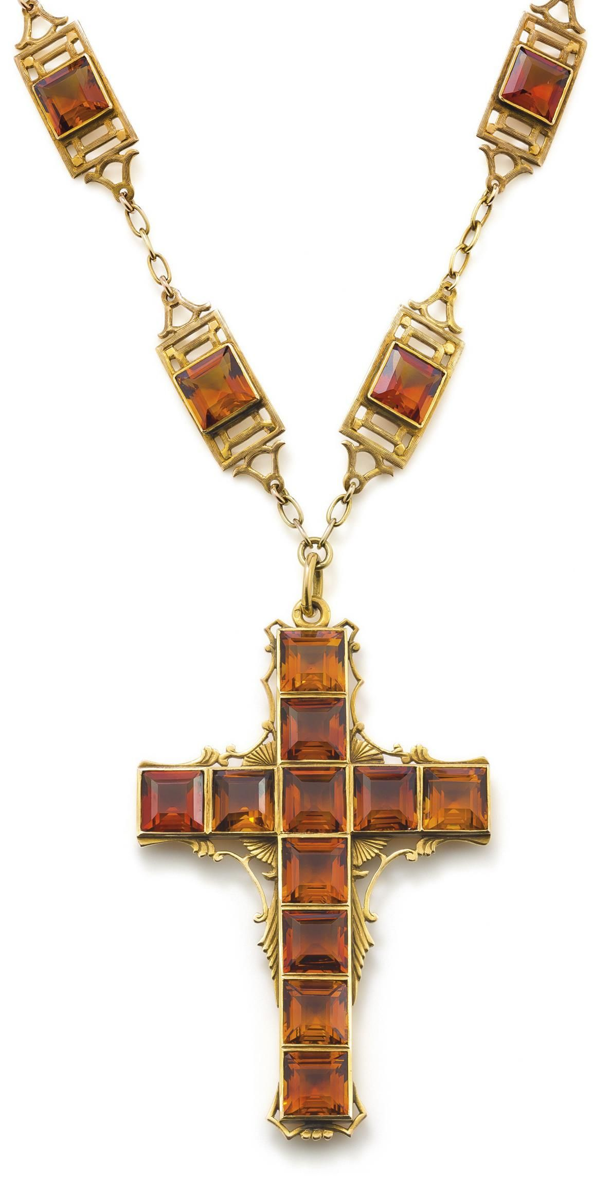 A french citrine cross pendent necklace the necklace composed of ten a french citrine cross pendent necklace the necklace composed of ten tooled rectangular plaques each set to the centre with a square cut citrine suspending aloadofball Gallery