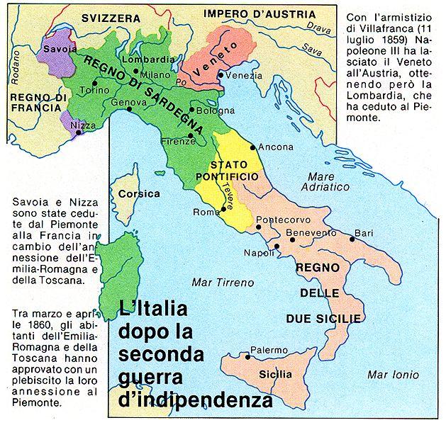 Cartina Italia Prima Dell Unificazione.Pin Su Unificazione Italiana