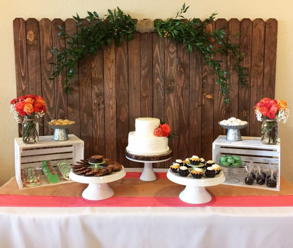 Wood Dessert Table ~ Coral floral baby shower