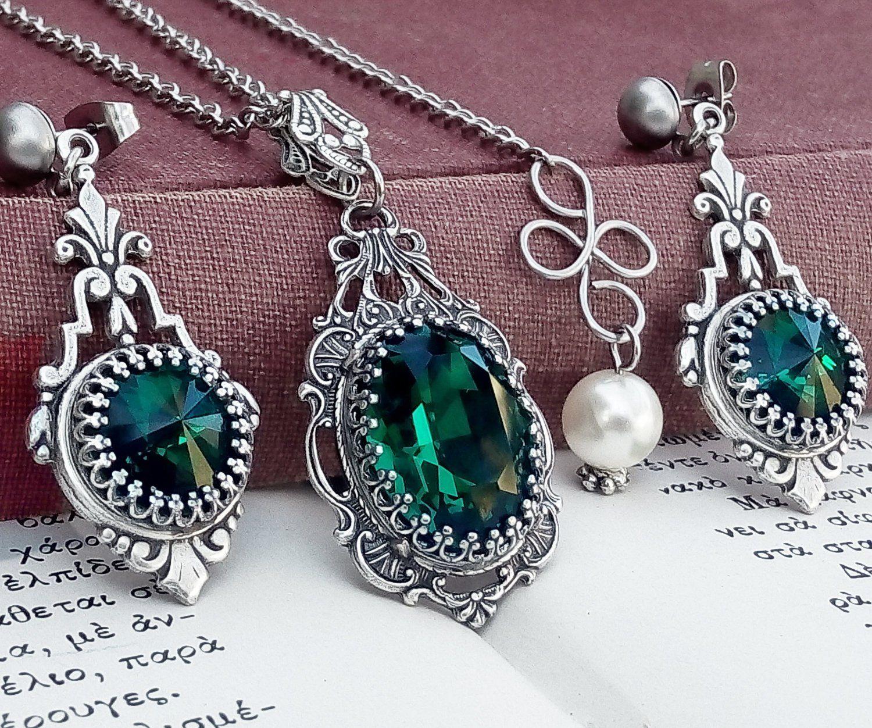 Victorian Jewelry Set Gothic Jewelry Emerald Green Wedding Jewelry Set Gothic  Necklace Earrings Set Swarovski Necklace Silver Filigree Set 149bbc058e9
