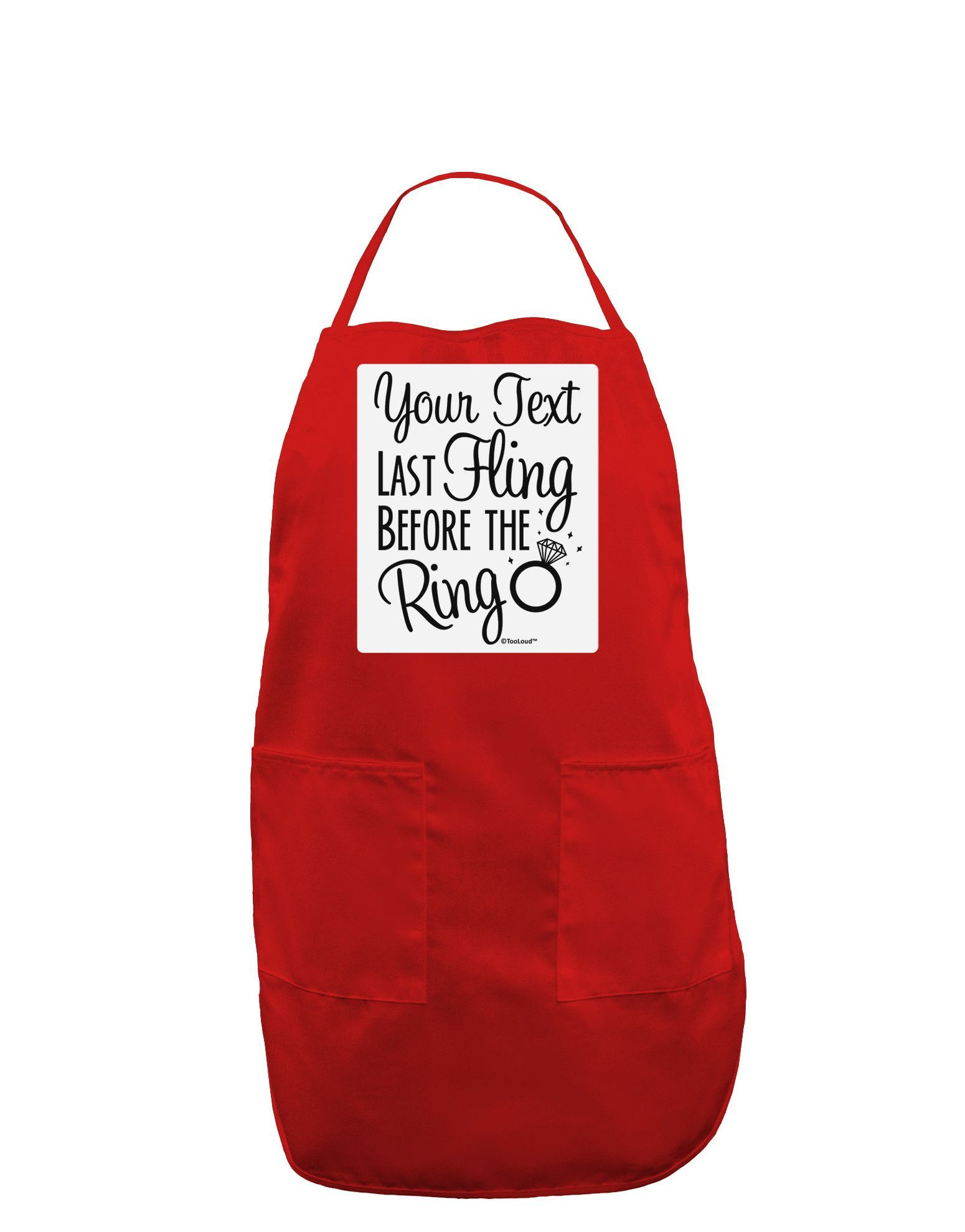 TooLoud Personalized Bachelorette Party - Last Fling Before the Ring Panel Dark Adult Apron