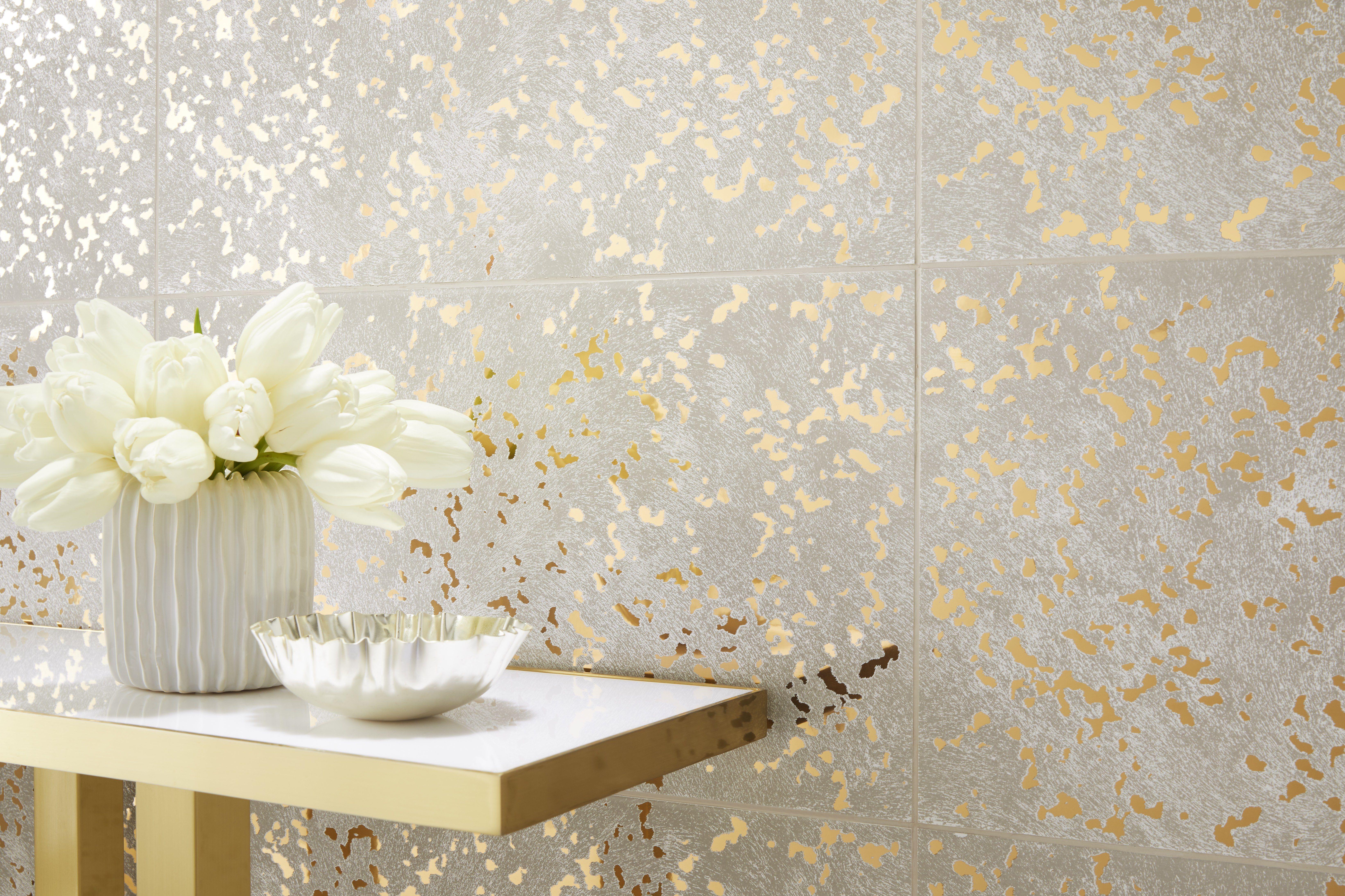 Annie Selke Goldleaf Speckle Ceramic Wall Tile 13 X 23 In Ceramic Wall Tiles Wall Tiles Annie Selke