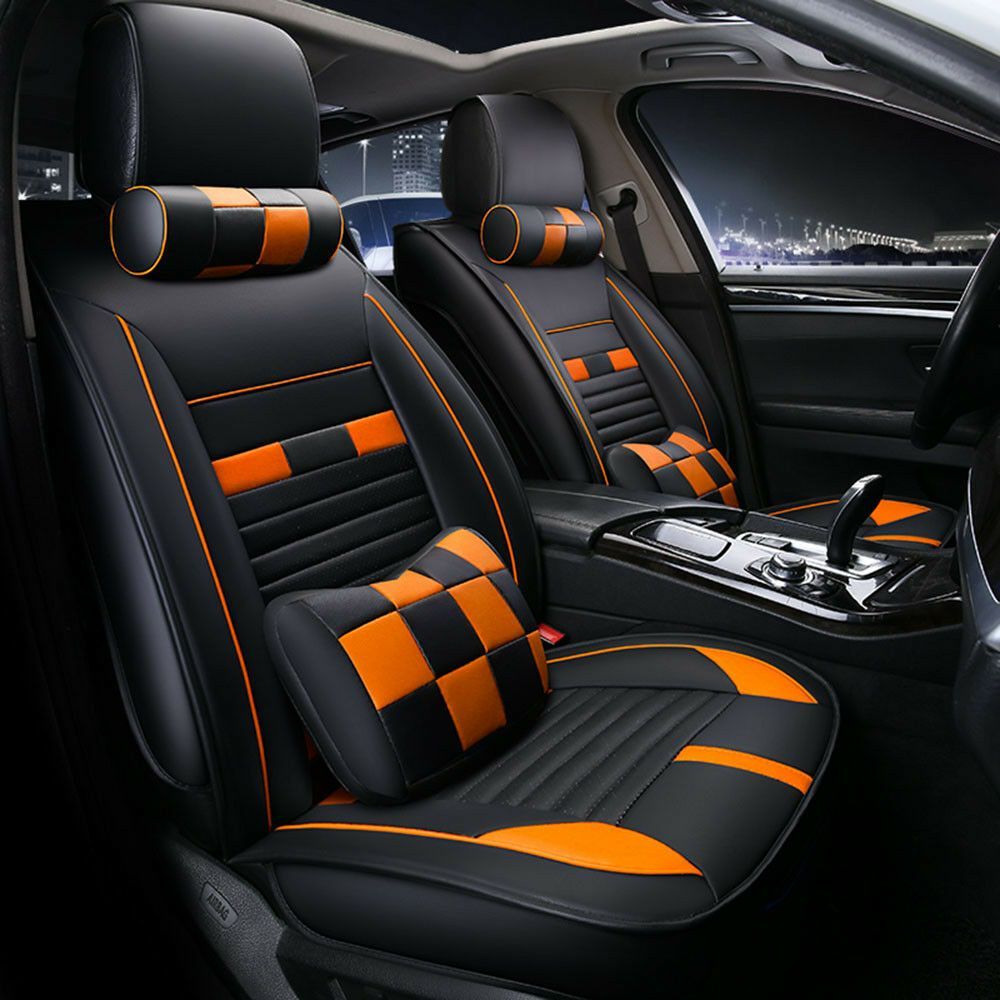 11pc Bk Org 5 Seat Car Microfiber Leather Seat Covers For Honda Accord Civic Xrv Leather Seat Covers Leather Car Seat Covers Leather Seat
