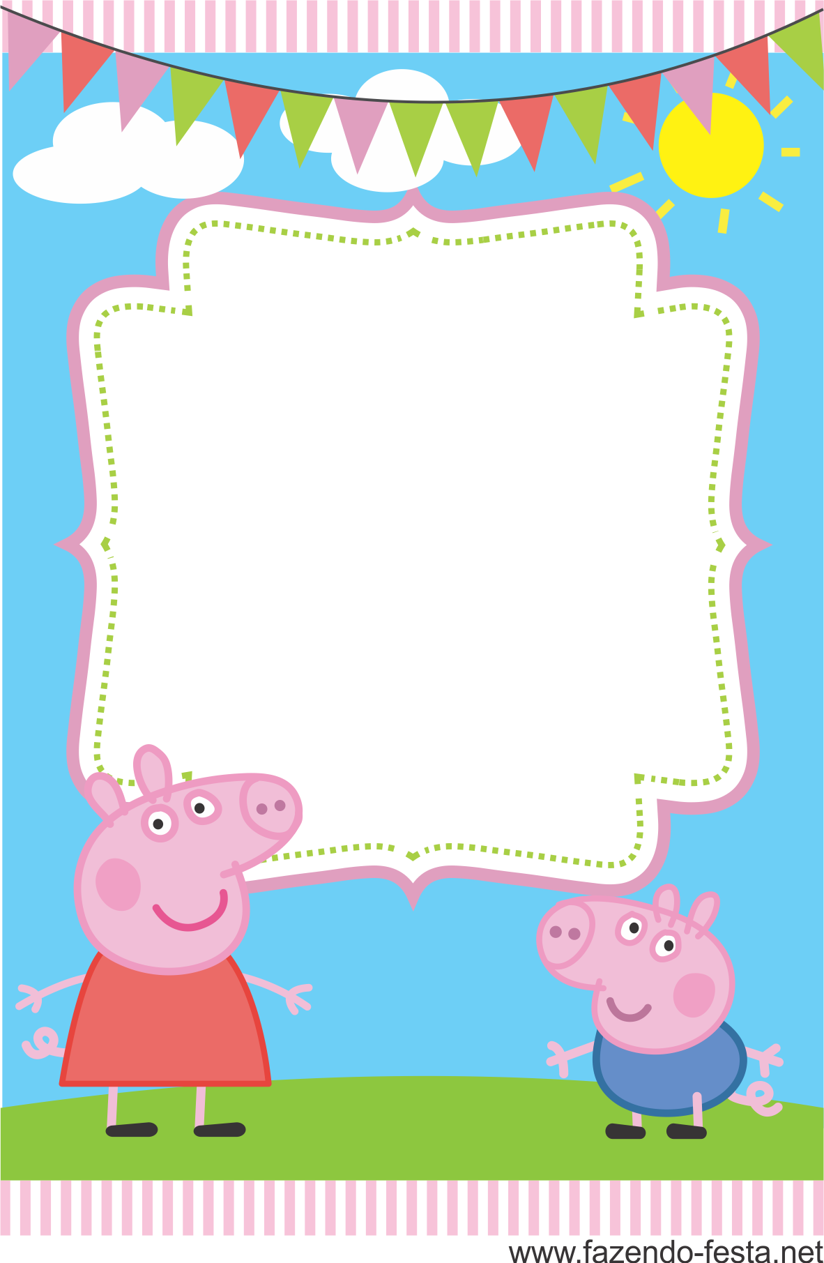 Convite Peppa Pig Grátis! Prontos para editar e imprimir!