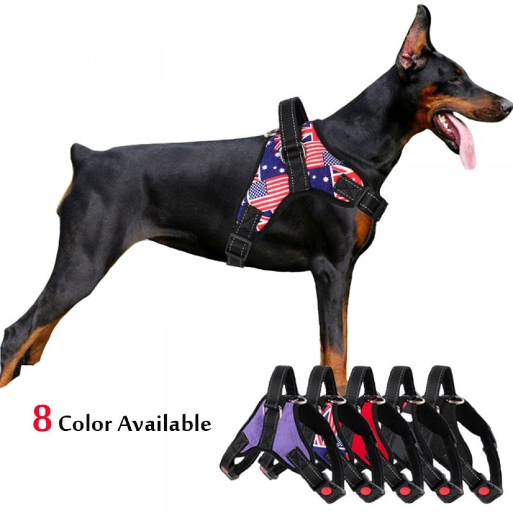 Medium Large Dog Harness Nylon Reflective Collar Vest Harnesses