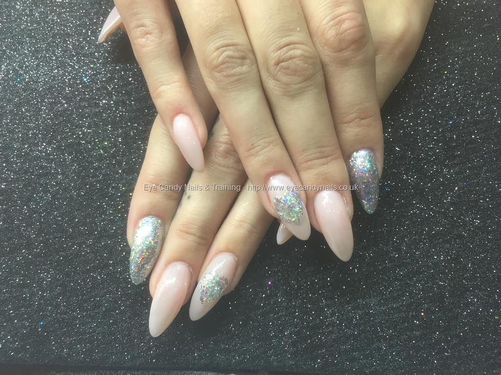 Acrylic nails with see it all gel polish silver glitter dust and ...