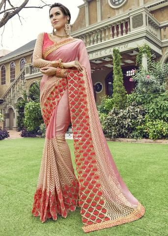 efd6847421 Ivimal Luxurious Pink Colored Embroidered Chiffon Net Partywear Saree -  96083