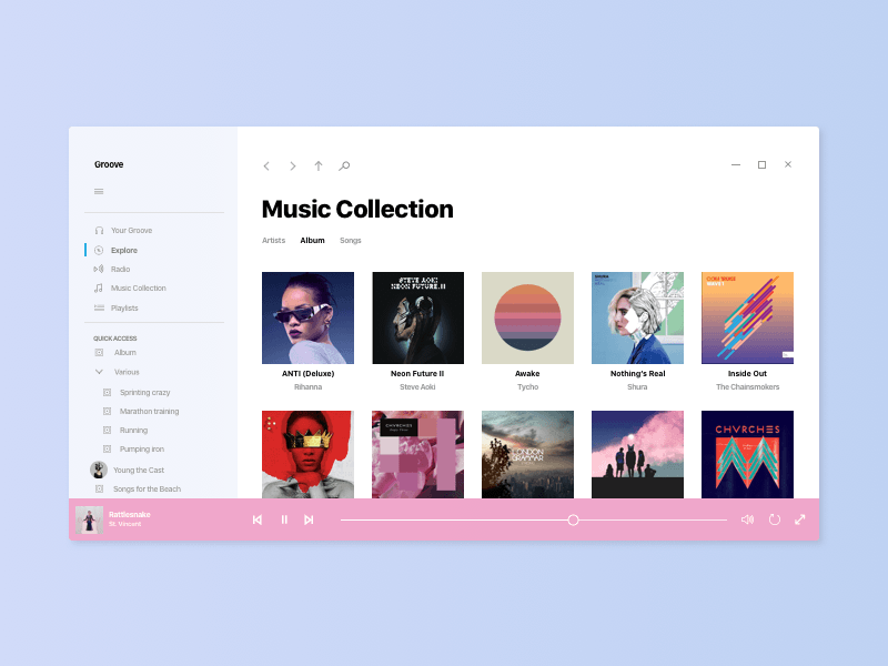 Windows 10 Acrylic Music App Project Neon Design Language