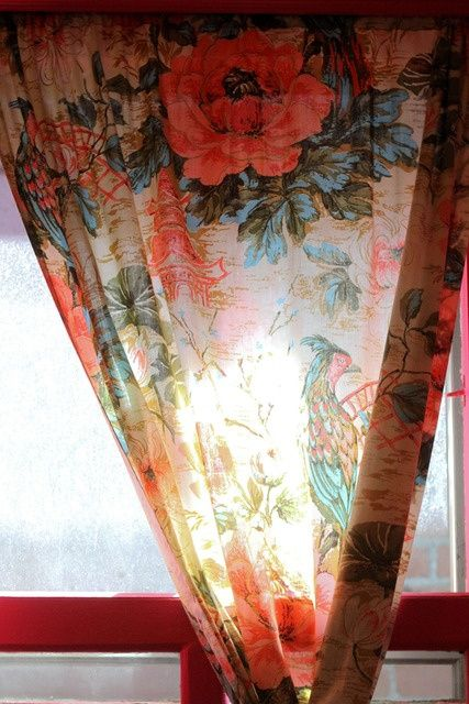 Take tea- real tea- a bathtub full- and tea-stain floral fabric (or any fabric) & this is what you get! Floral tea-staines curtains