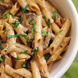 Creamy Chicken Marsala Pasta: Creamy Marsala sauce with caramelized mushrooms and onions