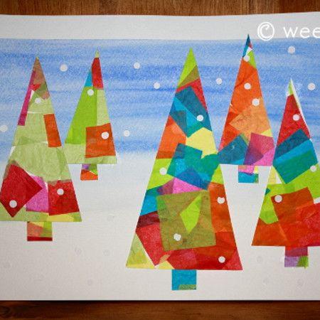 Tissue Paper Winter Trees Art Project Wee Folk Art Christmas Art Christmas Card Crafts