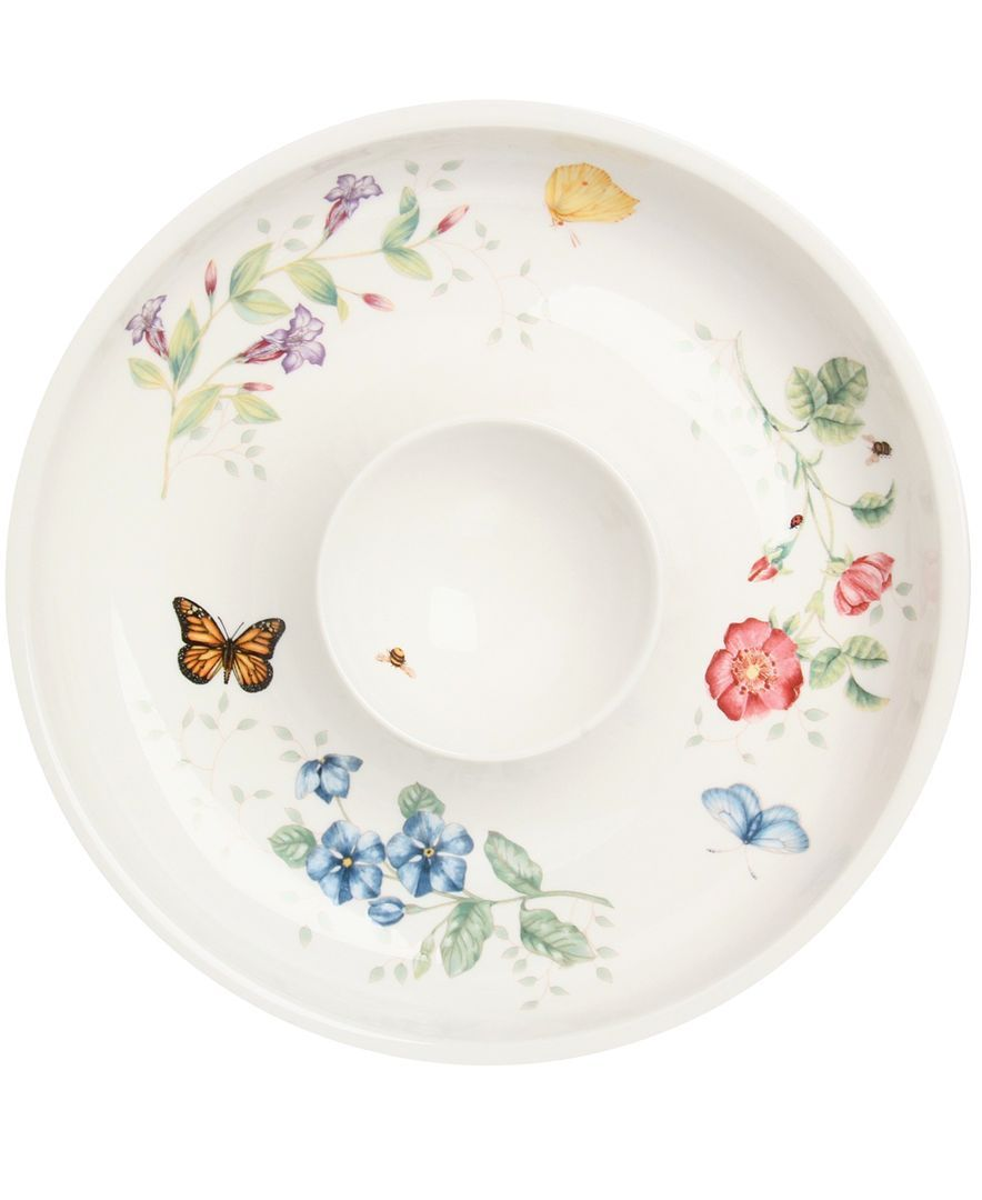 "Lenox ""Butterfly Meadow"" Chip and Dip Bowl, 12"""