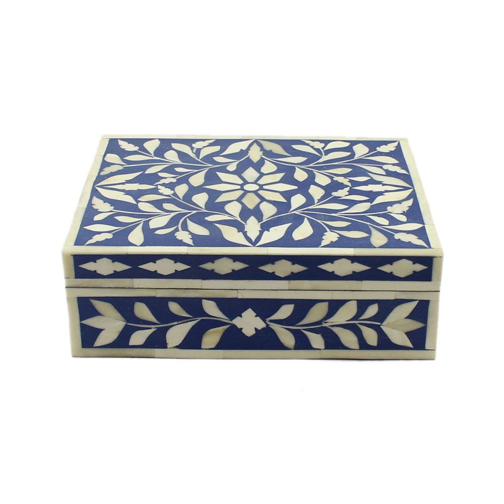 Decorative Boxes Navy Blue Bone Inlay Decorative Box  All Purpose Boxes