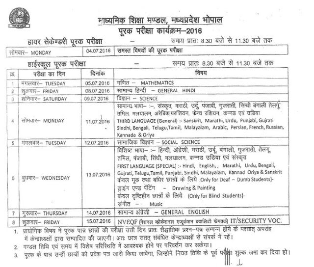 Mp Board 12th Supplementary Time Table Boards Board Result Application