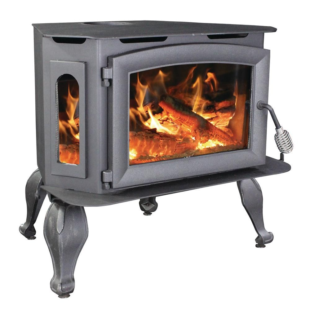 Vogelzang 1 800 Sq Ft Epa Certified Wood Stove With Bay Front Glass On Legs With Blower Vg180l The Home Depot Wood Stove Wood Burning Fireplace Inserts Wood Burning Stove