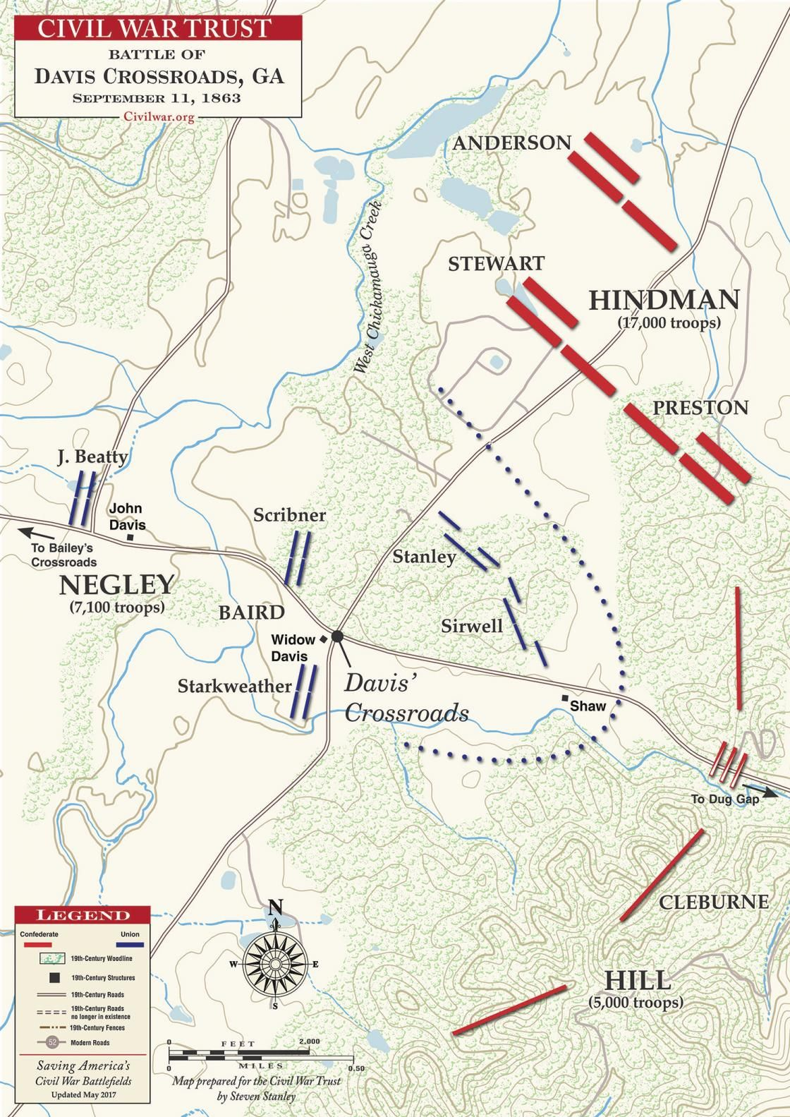 Davis Crossroads - September 11, 1863 | Civil War Battle Maps ... on