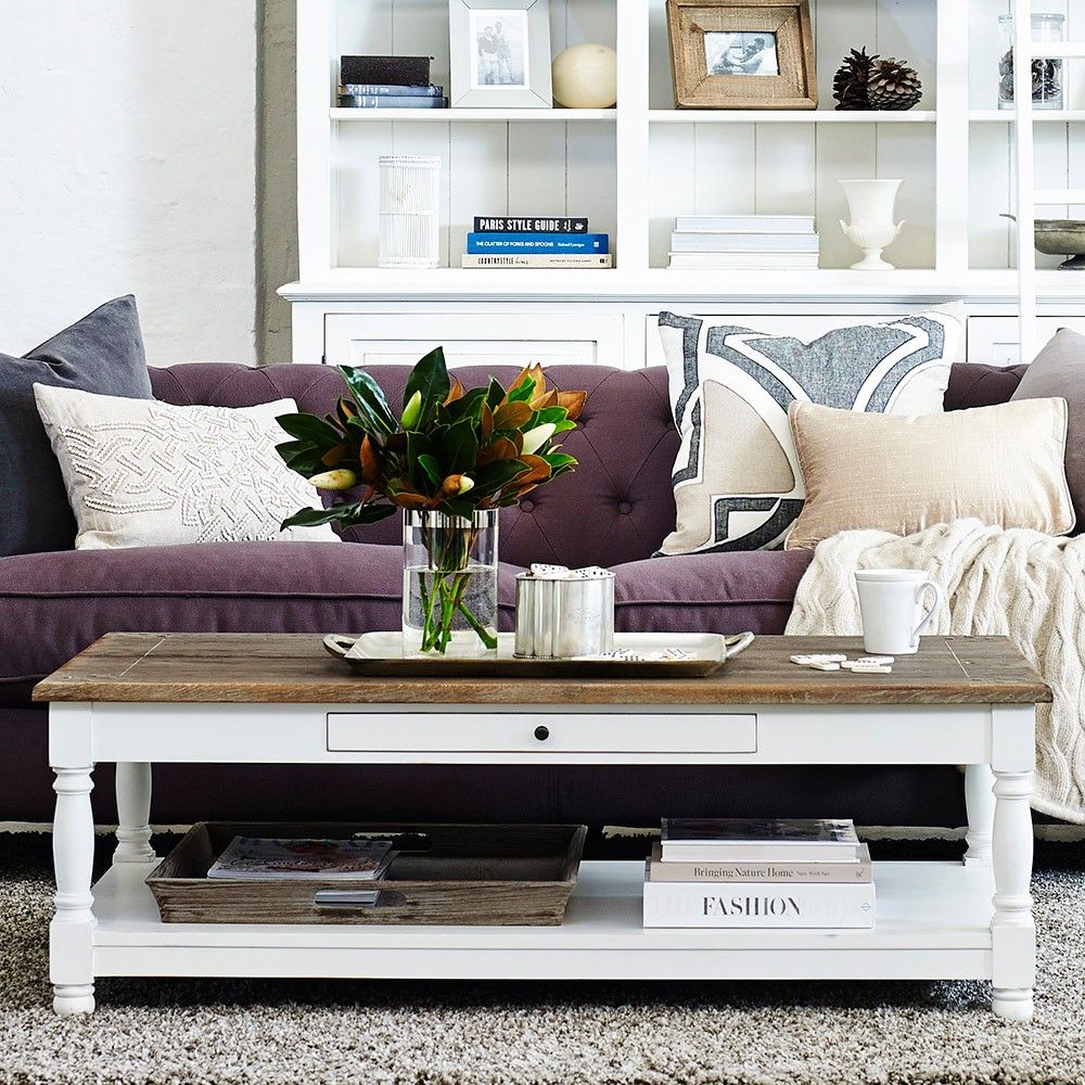 Louis xv riviera coffee table burnt oak grey timbertop white louis xv riviera hamptons rectangular coffee table in burnt oak grey timber top and painted base geotapseo Image collections