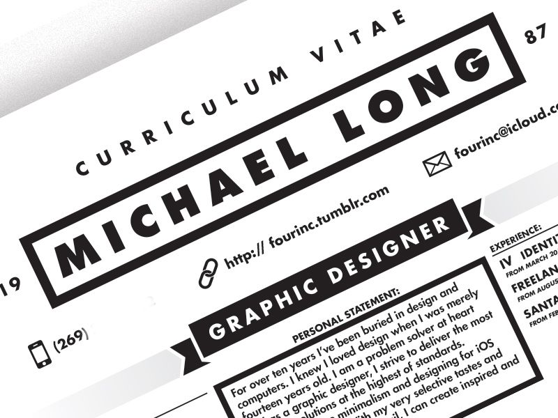 Curriculum Vitae Curriculum, Resume design and Design styles - header for resume