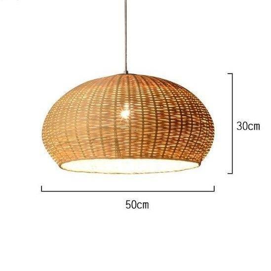 Pakpao Large Bamboo Wicker Rattan Basket Pendant Light Fixture