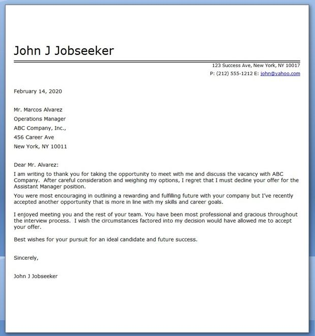 Job Decline Letter Sample Creative Resume Design Templates Word - employment offer letter