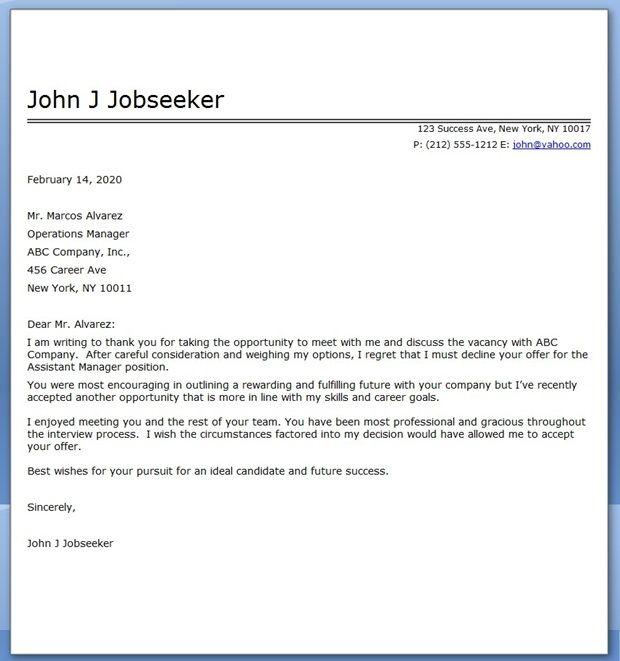 Job Decline Letter Sample Resume Downloads Resume Lettering Job