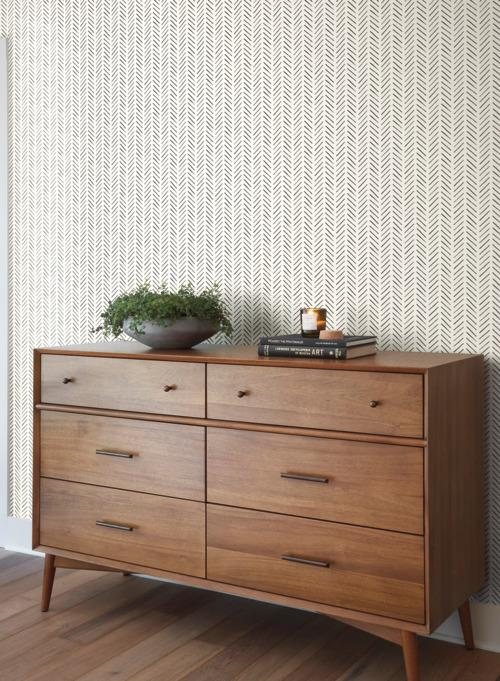 PickUp Sticks Wallpaper in Black from the Magnolia Home