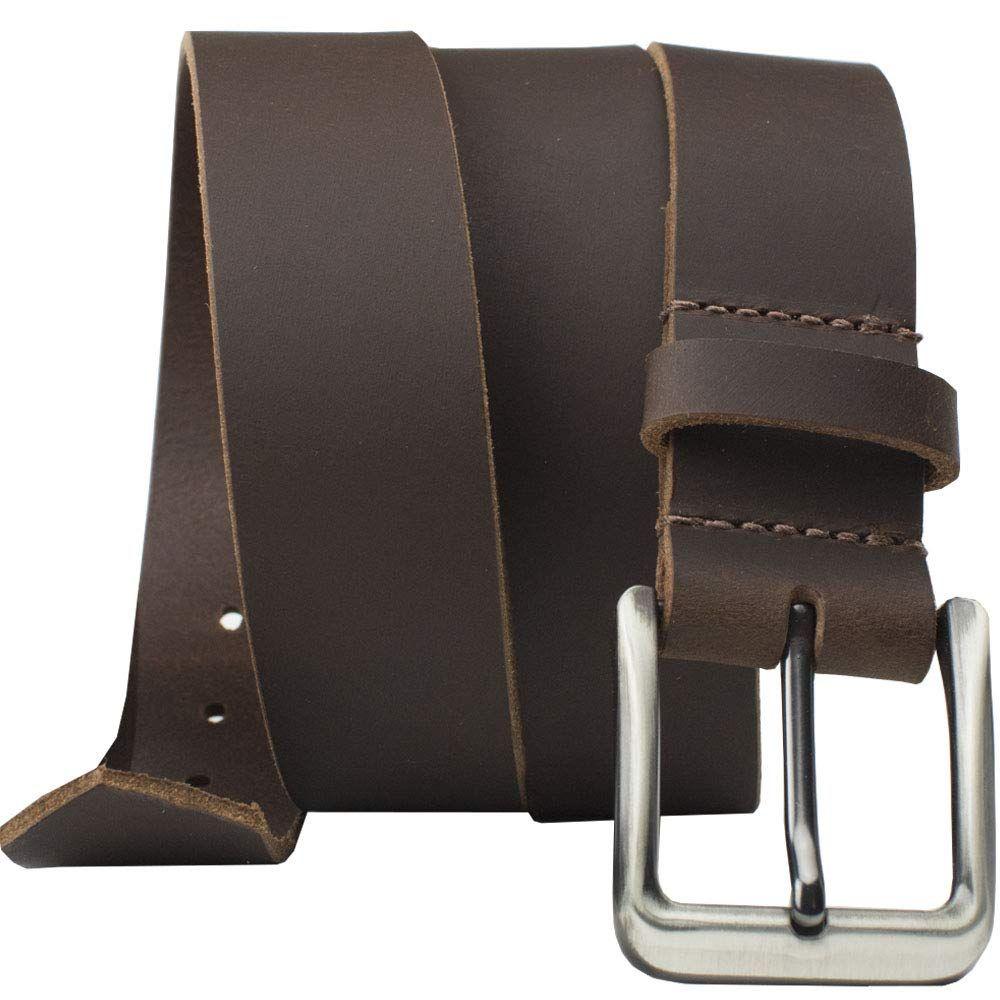 Roan Mountain Leather Belt Nickel Smart Brown Genuine Full