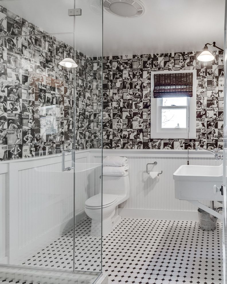 Black And White Bathroom With Wallpaper   Google Search Good Looking