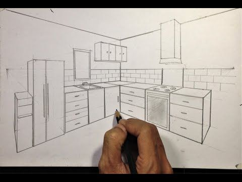 How To Draw Kitchen Set In Two Point Perspective Youtube In 2020 Point Perspective Perspective Room Perspective Drawing