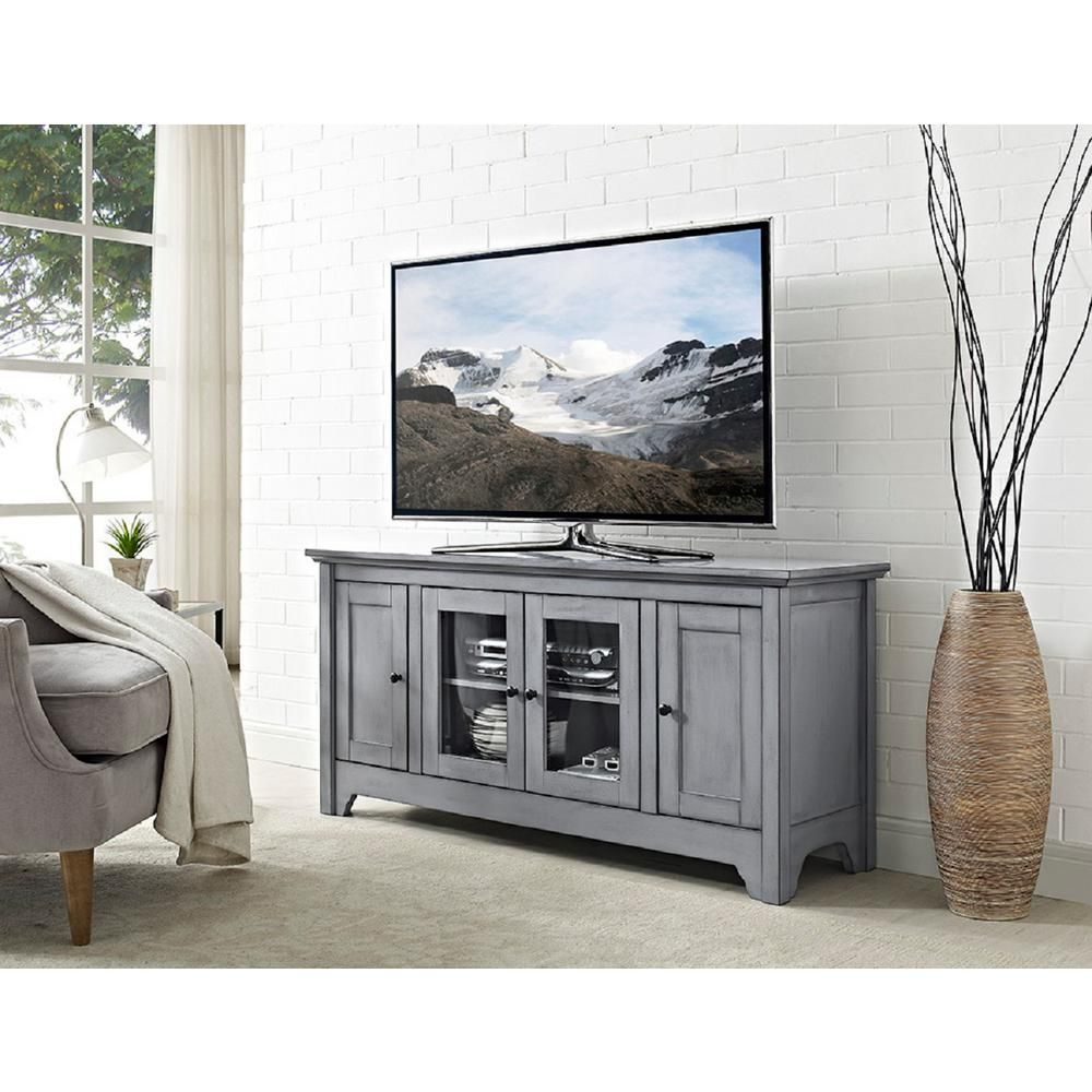 Walker Edison Furniture Company 52 In Antique Grey Storage Console Wood Media Tv Stand Grey Tv Stand Tv Media