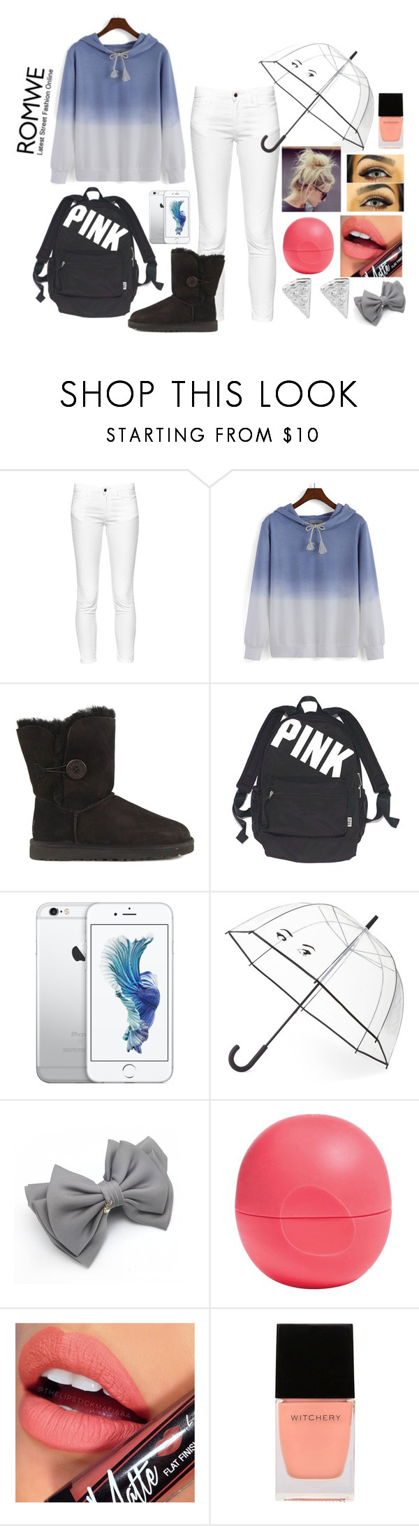 """lazy school day"" by melody02craig ❤ liked on Polyvore featuring French Connection, UGG Australia, Victoria's Secret, Kate Spade, Eos, Fiebiger, Witchery and Rock 'N Rose"