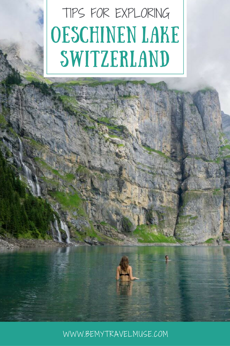 A guide to exploring beautiful Oeschinen Lake (Oeschinensee) in Bern, Switzerland. Hiking trails, waterfalls, boat rentals, crystal clear water (that's drinkable!) and more. Best of travel in Europe. | Be My Travel Muse