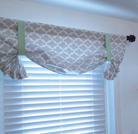 Quatrefoil Tie Up Valance Lined Curtain French Gray Mint Custom Sizing Available