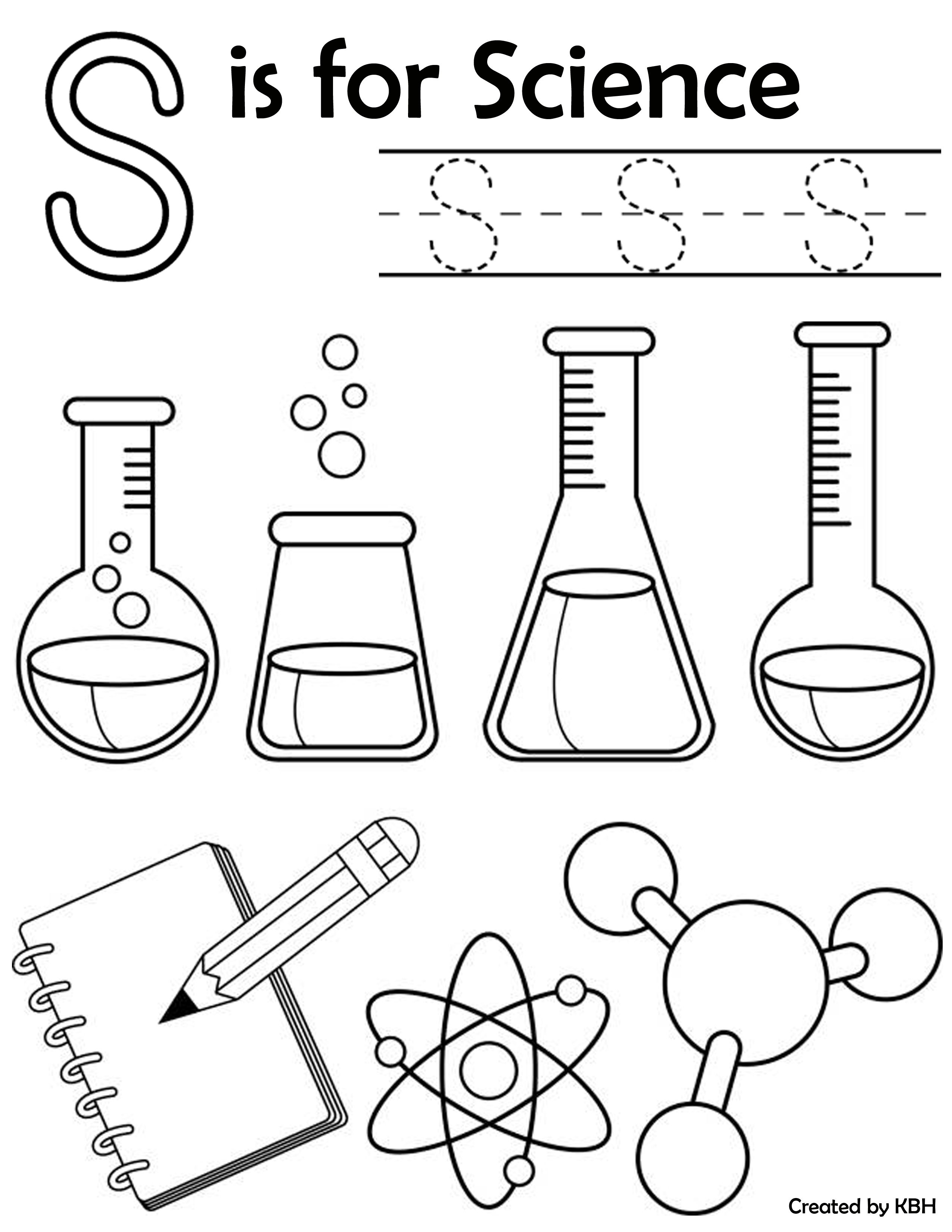 S is for Science colouring page  Science experiments kids