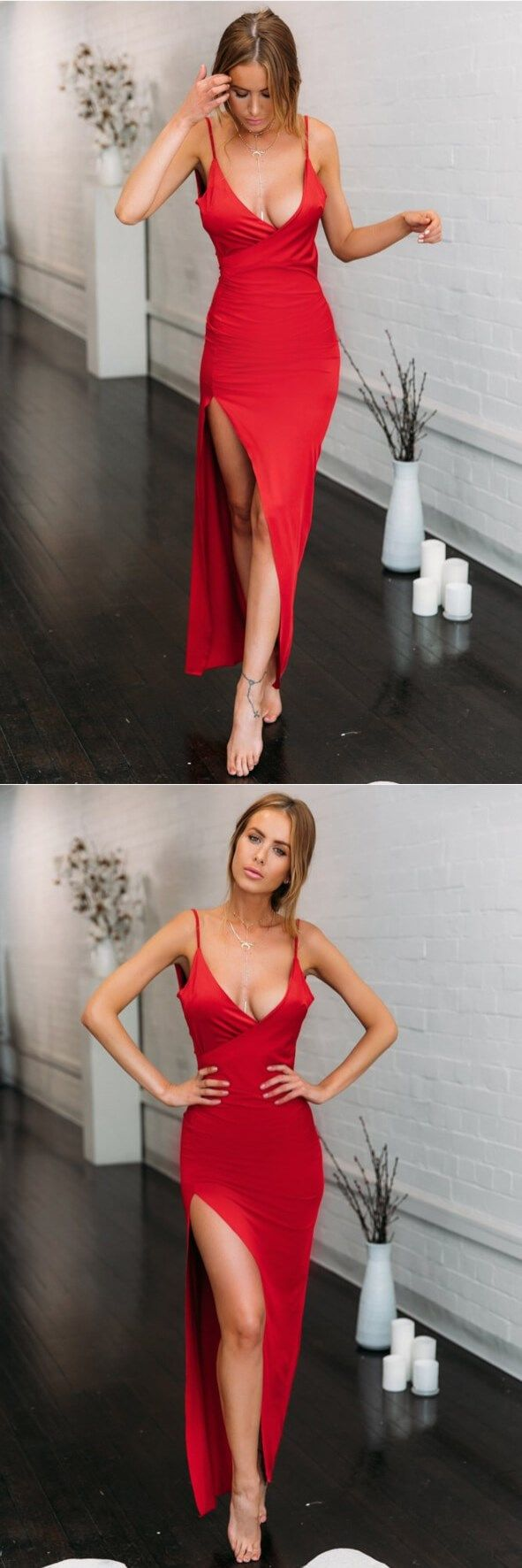 Vneck spaghetti strap red prom dress with split side red mermaid
