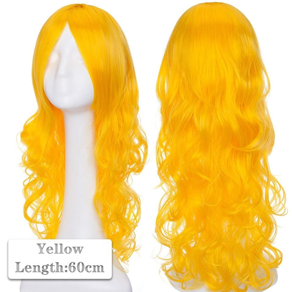 Photo of 60~80cm Cosplay Wig Long Wig Middle Part Hair Wig Cosplay Natural Wavy Heat Resistant Synthetic Wigs – yellow / 60-80CM / United States