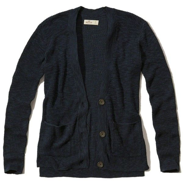 Hollister Textured Boyfriend Cardigan ($40) ❤ liked on Polyvore featuring tops, cardigans, navy, navy top, boyfriend cardigan, navy boyfriend cardigan, button front cardigan and slit top